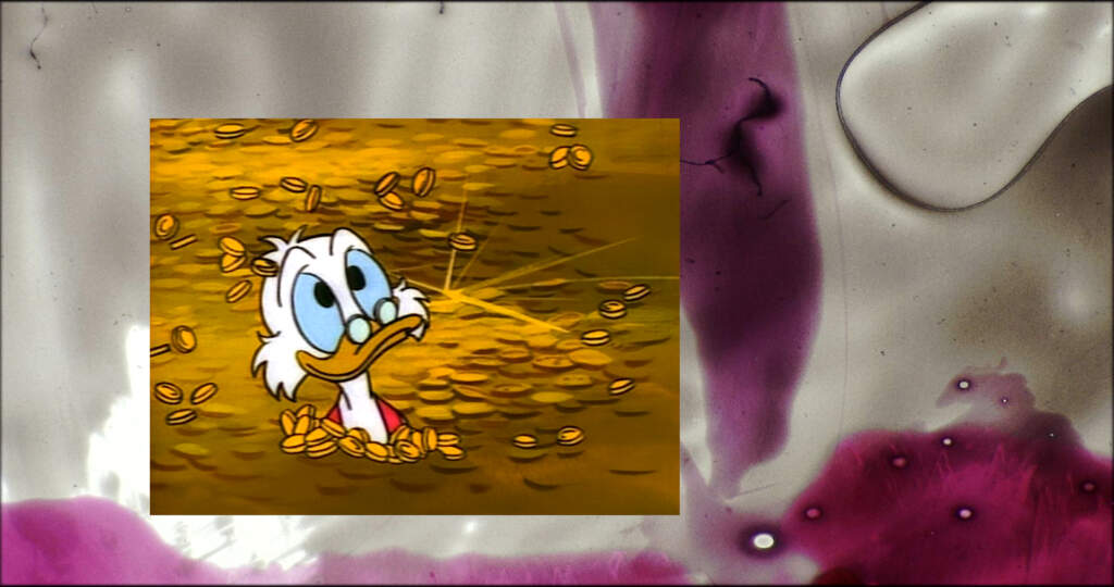 Wideshot. On the left, a rectangle photograph with the head of a senior Donald the Duck-esque cartoon wearing small glasses propped on its break. The background of the photo appears to be a golden brown field. This photo appears to be stuck on a glass wall, and the background is blurred with some white and purple objects.